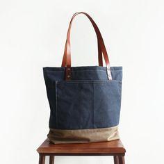 Handcrafted Canvas Tote Bag Women's Fashion Bag Shopper Bag Handbag 14047 - LISABAG - 2