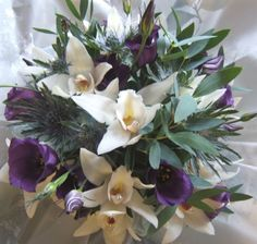 Purple and white posy-orchids and lisianthus Funeral Flower Arrangements, Funeral Flowers, Picasso Flowers, Same Day Flower Delivery, Send Flowers, Orchids, Bouquet, Purple, Plants