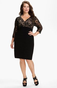 Free shipping and returns on Adrianna Papell Lace Bodice Banded Sheath Dress (Plus Size) at Nordstrom.com. A romantic lace overlay against the surplice, Empire-waist bodice artfully juxtaposes the pleated pencil skirt of a mixed-media sheath.