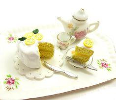 Lemon Chiffon Cake Polymer Clay Dollhouse Miniature