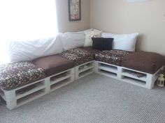 Custom Made Pallet Sectional Sofa. $600.00, via  etsy. Cute for a play room!