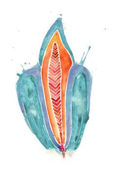 Impresión de diente abstracto acuarela grabado azul por LyonRoad