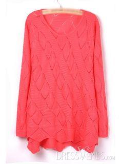 US$20.99 Exquisite Pure Color Jacquard Knit Sweater. #Knitwear #Exquisite #Jacquard #Pure