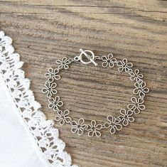 Flowers Wire handmade Chain Braselet Silver color Wire wrap jewelry