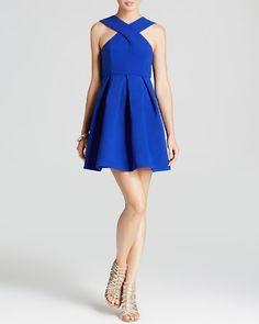 AQ/AQ Dress - Maverick Sleeveless High Neck Fit and Flare Mini | Bloomingdale's