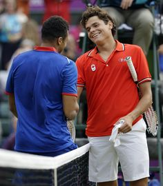 Canada's Milos Raonic competes with France's Jo-Wilfred Tsonga in what is considered the longest three-set match in olympic history
