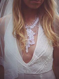 White Vintage Lace Flower Sequin Crystal Necklace by AliceHalliday