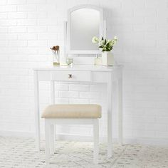 Elegant small vanity set made of wood and MDF with a lovely White finish; ideal for a bathroom, master suite, or walk-in closet. Small Vanity, Vanity Set With Mirror, Vanity Table Set, Wooden Vanity, Upholstery Cushions, Dressing Table Mirror, Storage Drawers, Interior Styling, A Table