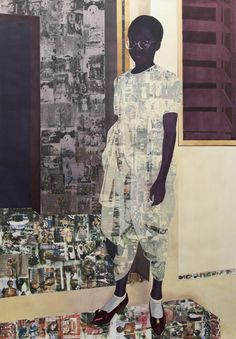 The Beautyful Ones, Njideka Akunyili Crosby, 2012 acrylic, pastel, colour pencil and Xerox transfer on paper 95 ⅝ x 66 ⅞ in. x 170 cm) Famous Black Artists, Photocollage, Portraits, Afro Art, Arte Pop, African American Art, Black Power, Black Is Beautiful, Paintings
