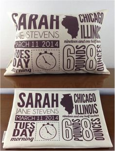 Celebrate that new bundle of joy with a fully customized birth announcement pillow! A great gift for a newborn or a new parent that adds a unique personalized touch to any nursery!   Made on Hatch.co by makers who care!
