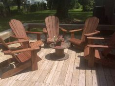 Adirondack chairs using pressure treated lumber and old Yankee barn red stain