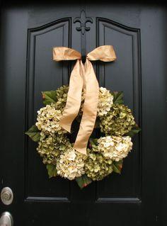 Hydrangeas, Wreaths, Spring Wreath, Wreaths for All Seasons, Summer Wreaths, Spring Hydrangeas in Green, Cream, Champagne, Weddings. $80.00, via Etsy.