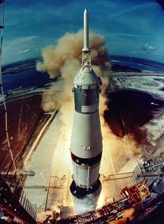 Forty-five years ago today, NASA's Apollo 11 mission launched toward the moon. Astronauts Neil Armstrong, Buzz Aldrin and Michael Collins rocketed into space aboard a Saturn V rocket, which lifted off from the Kennedy Space Center in Cape Canaveral, Florida.Apollo 11 was the first mission to land humans on the moon, and on July 20, 1969, Armstrong became the first person to step foot on the lunar surface. This incredible view of the Apollo 11 liftoff was captured by a launch tower camera…