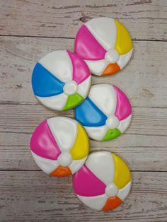 Beach ball themed sugar cookies