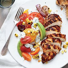 Grilled Chicken with Tomato-Avocado Salad | MyRecipes.com