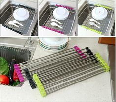 Cheap rack kitchen, Buy Quality rack sink directly from China rack holder Suppliers: Urijk 37/47x23CM 1 pc Kitchen Sink Rack Stainless Steel Foldable Dish Cutlery Drainer Drying Holder Fruits Cup Dish Sink Rack