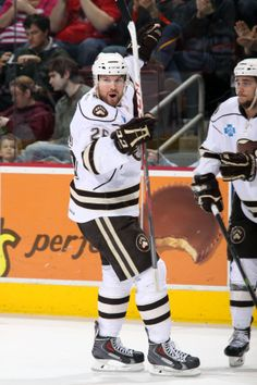 01.11.14 - Brandon Segal with another Hershey Bears goal!  Photo courtesy of JustSports Photography