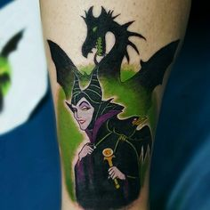 Maleficent tattoo done by Mika at Indigenous Ink in Lake Elsinore CA