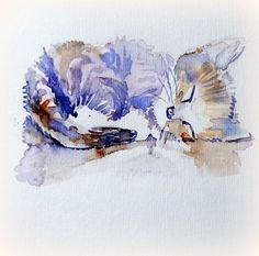 watercolor by Geri Meftah. Watercolor Cat, Watercolor Animals, Watercolor Paintings, Watercolors, Cat Drawing, Painting & Drawing, Illustrations, Illustration Art, Gravure Photo
