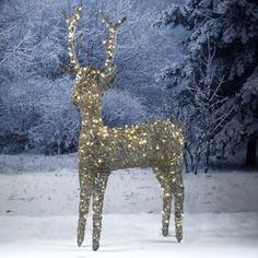 Triflora Reindeer Grey 80cm Battery Op Led