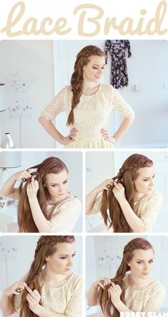 12 romantic braided hairstyles with useful tutorials Lace Braid Hair Tutorial My Hairstyle, Pretty Hairstyles, Party Hairstyle, Simple Hairstyles, Everyday Hairstyles, Medium Hair Styles, Short Hair Styles, Hair Medium, Medium Long