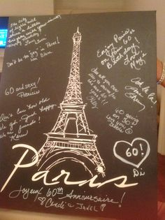 Part of Paris party theme Eiffel Tower canvas with birthday wishes written on it for a keepsake