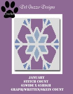 (4) Name: 'Crocheting : January Holiday Cro-Quilt Crochet Graph