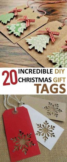 20 Incredible DIY Christmas Gift Tags Contact us for custom printing services www.topclassprint The post 20 Incredible DIY Christmas Gift Tags appeared first on Paper Diy. Diy Christmas Tags, Noel Christmas, Christmas Gift Wrapping, Homemade Christmas, Christmas Projects, Christmas Decorations, Christmas Ornaments, Christmas Ideas, Christmas Present Tags