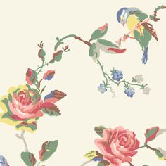 Birds & Roses Wallpaper - end of hallway? Wallpaper Shelves, Bird Wallpaper, Cath Kidston Wallpaper, Cottage Wallpaper, Bedroom Wallpaper, Beautiful Dining Rooms, Vintage Graphic Design, Floral Wall Art, Tyga