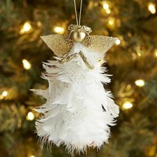 Feather Angel Ornament More Christmas Tree Angel, Christmas Decorations For Kids, Love Decorations, Christmas Ornaments To Make, Handmade Christmas Gifts, Christmas Scenes, Christmas Crafts, Whimsical Christmas, Handmade Angels
