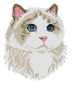 Ragdoll counted cross-stitch chart. $4.00, via Etsy. (Reminds me of Snowball, a bit)