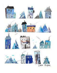 Houses and Mountains, Giclee print of my illustration