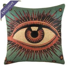 """Showcasing a bold eye motif, this eye-catching burlap pillow adds chic style to your sofa or favorite arm chair. Made in the USA. Product: PillowConstruction Material: BurlapColor: Natural and greenFeatures:  Handmade by TheWatsonShopZipper enclosureMade in the USAInsert included  Dimensions: 16"""" x 16"""""""