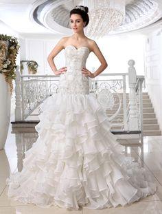 Ivory Sheath Sweetheart Neck Strapless Applique Court Train Organza Wedding Dress For Bride - Milanoo.com