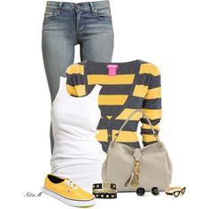 Striped Cardigan, created by mz-happy on Polyvore