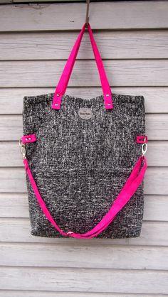 Canvas Tote Bag   CUBE COCO II   Simple Minimalistic Bag with Fuchsia a3e34234eb216
