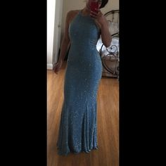 Cache backless beaded gown Small. Light blue with silver beads. Worn once and has been sitting in storage so you will need to dry clean it because of minor musty smell. All beads intact. No stains. Cache Dresses Backless