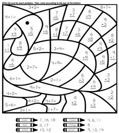 We love the combination of math and coloring, especially on a Thanksgiving worksheet!