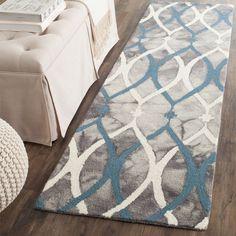Safavieh Hand-Tufted Dip Dye Grey/ Ivory Blue Wool Rug (2'3 x 6')