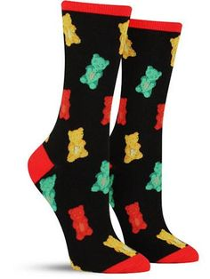 Chewy and sweet right on your feet! These fun and colorful gummy bear socks are the perfect choice for all you candy lovers out there. Your dentist may advise against indulging your nearly constant c Silly Socks, Funky Socks, Crazy Socks, Cute Socks, Kids Socks, Happy Socks, Kids Clothesline, Food Socks, Ropa Hip Hop