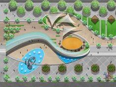 Landscape Plaza, Landscape Architecture Drawing, Landscape Architecture Design, Landscape Drawings, Urban Landscape, Biophilic Architecture, Arches Park, Parking Design, Playground