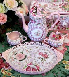 Pink Mosaic Tea Set with Tray-SOLD