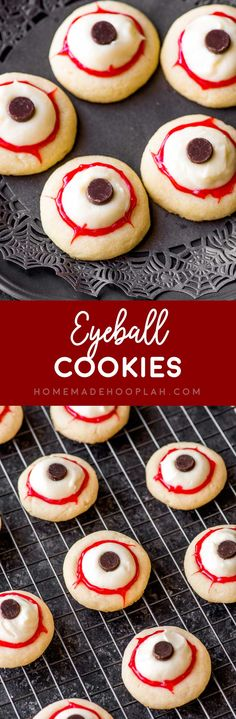 Eyeball Cookies! Classic buttery thumbprint cookies get a creepy Halloween makeover for these party-ready eyeball cookies. Easy decorating with frosting, chips, and red gel. #Halloween #desserts