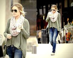 Lauren Conrad Street Style - Green relaxed shirt, ripped jeans, flower scarf.   More outfits like this on the Stylekick app! Download at app.stylekick.com   5      1