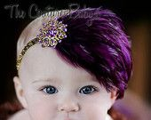 Dreaming of Sugar Plums Purple and Gold Feather Sparkle Glitter Vintage headband