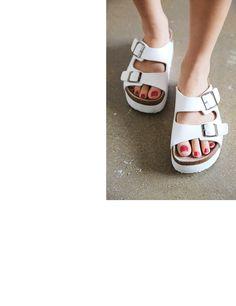 Buckled Platform Slippers #stylenanda