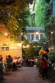 Neumarkt Restaurant Garden // Zurich Switzerland Has a complete full patio well lighted to enjoy an evening dinner. Switzerland Cities, Switzerland Vacation, Photography Winter, Travel Photography, Suiza Zurich, The Places Youll Go, Places To Go, Places To Travel, Travel Destinations