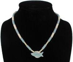 Pastel Blue Ceramic Fish Beaded Necklace 16 by KensieKitsch, $8.95