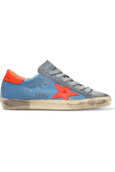 Sole measures approximately 10mm/ 0.5 inches Blue smooth leather, neon-orange patent-leather, gray suede Lace-up front Made in Italy