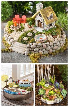 Pin by Artelsie on Casa Ideal. Small Garden Fairies, Mini Fairy Garden, Fairy Garden Houses, Gnome Garden, Fairy Crafts, Garden Crafts, Garden Projects, Garden Art, Fairy Garden Furniture